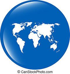 mapa, teia, globo, mundo, ícone, terra, botão
