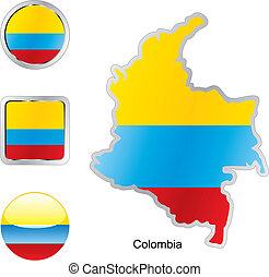 mapa, tela, botones, bandera, colombia, formas
