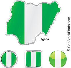 mapa, tela, botones, bandera, formas, nigeria