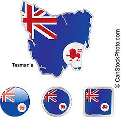 mapa, tela, botones, bandera, formas, tasmania