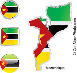 mapa, tela, botones, bandera, mozambique, formas
