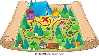 mapa, tema, 2, imagem, acampamento