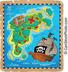 mapa, tema, 2, imagen, tesoro