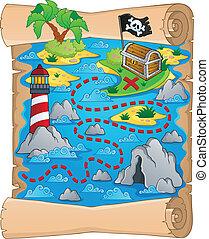 mapa, tema, tesouro, 5, imagem