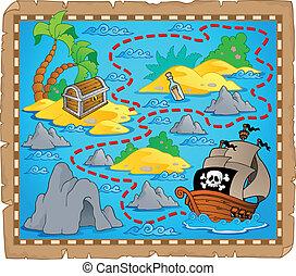 mapa, tema, tesouro, imagem, 3