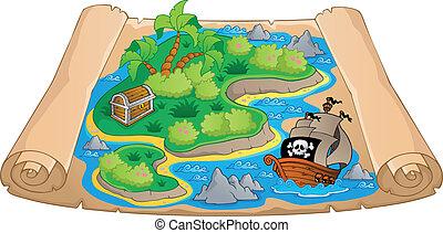 mapa, tema, tesouro, imagem, 4