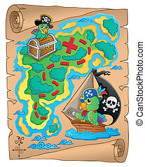 mapa, tema, tesouro, imagem, 8