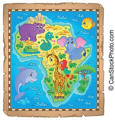 mapa, temat, afryka, wizerunek, 3