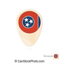 mapa, tennessee., bandera, pomarańcza, icon., wskazówka, abstrakcyjny