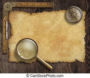 mapa, tesoro, loupe, vendimia, náutico, compás, tabla