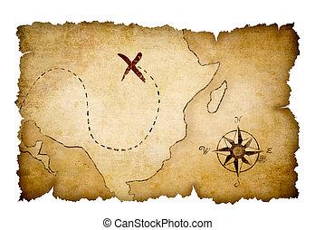 mapa, tesoro, piratas, marcado, ubicación