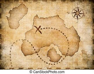 mapa, tesoro, ubicación, marcado, pirates'