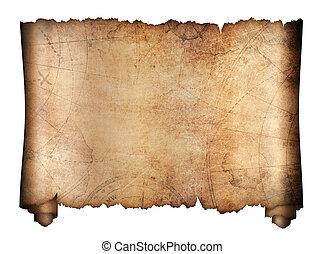 mapa, tesouro, antigas, rolo, isolado
