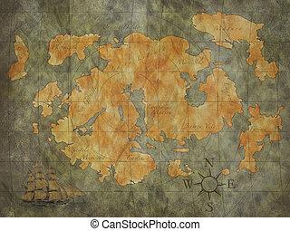 mapa, tesouro