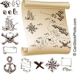 mapa, tesouro, equipamento