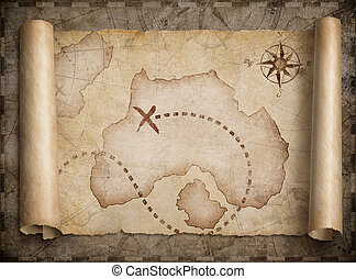 mapa, tesouro, piratas, scroll