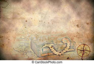 mapa, tesouro, retro, fundo, denominado