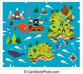 mapa, tesouro, viagem, pattern., seamless, caricatura, adventure., vetorial, pirata