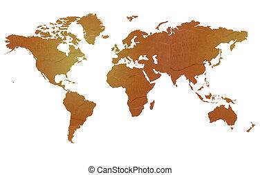 mapa, textured, mundo