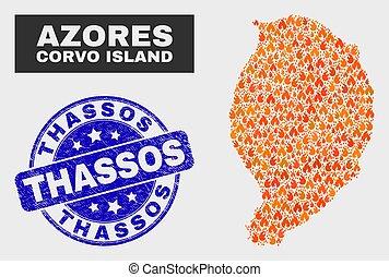 mapa, thassos, grunge, watermark, corvo, isla, quemadura, mosaico