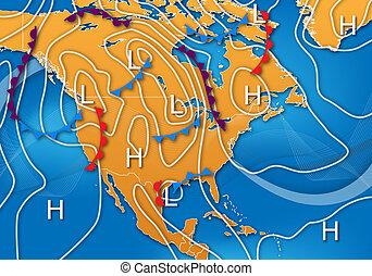 mapa tiempo, de, norteamérica