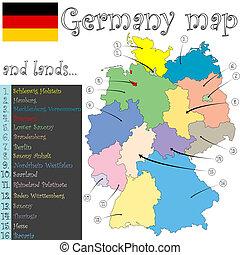 mapa, tierras, alemania
