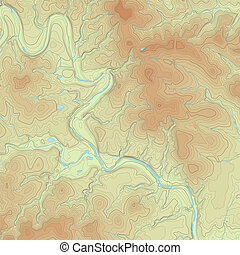 mapa, topográfico, coloreado