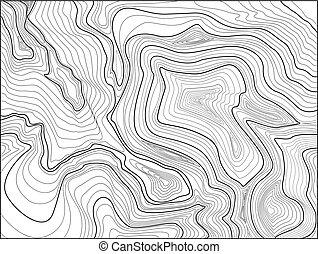 mapa topographic, contorno, experiência., mapa, grade