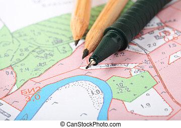 mapa, topographic, rollerball, poznamenat