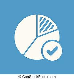 mapa torta, ícone, negócio, ícone, com, cheque, sinal., mapa torta, ícone, e, aprovado, confirmar, feito, carrapato, completado, símbolo