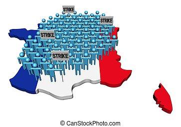 mapa, trabajadores, ilustración, bandera francia, huelga