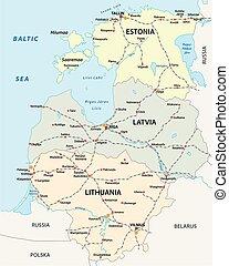 mapa, tres, estados, pistas, báltico, ferrocarril