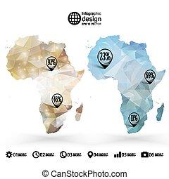 mapa, triangulo, áfrica, ilustração, vetorial, infographics, desenho, modelo