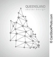 mapa, triangulo, cinzento, polygonal, queensland, ponto