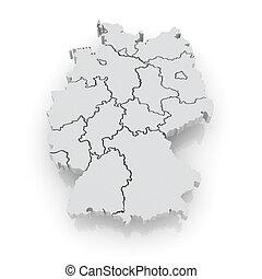mapa, tridimensional, germany.