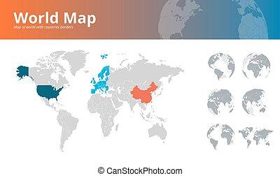mapa, tudo, continentes, países, mostrando, mundo, globos, terra, fronteiras