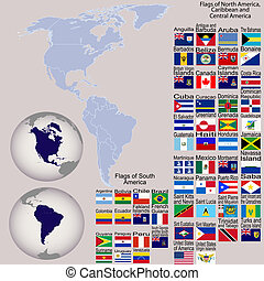 mapa, tudo, norte, bandeiras, globos, terra, américa, sul