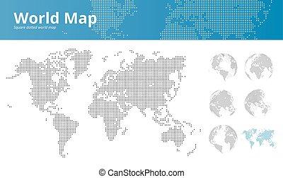 mapa, tudo, quadrado, continentes, pontilhado, mostrando, mundo, globos, terra