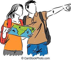 mapa, turistas, ilustração