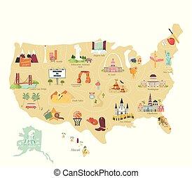 mapa, turysta, usa, punkty orientacyjny, sławny, wektor