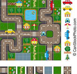 mapa, układ, od, ulice