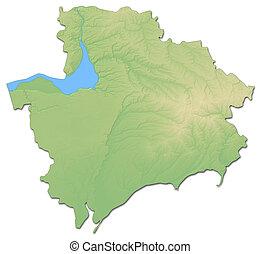 mapa, -, (ukraine), alívio, 3d-rendering, zaporizhia