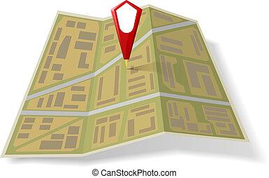 mapa, ulica, wskazówka, czerwony