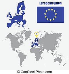 mapa, união, ilustração, bandeira, vetorial, pointer., mundo, europeu
