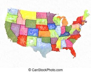 mapa, unidas, abstratos, político, aquarela, estados, artisticos, américa