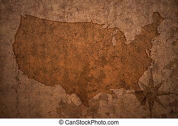 mapa, unidas, antigas, vindima, estados, papel, fundo, fenda, américa