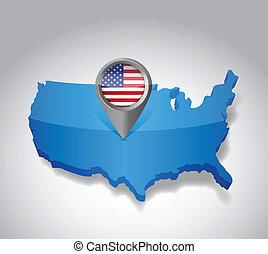 mapa, unidas, bandeira eua, américa, estados