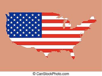 mapa, unidas, eua, dentro, estados, bandeira, américa