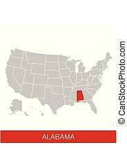 mapa, unidas, eua, selected., estados, estado, vetorial, ilustração, alabama, américa