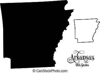 mapa, unidas, -, ilustração, estados, américa, estado, arkansas, fundo, branca, (usa)